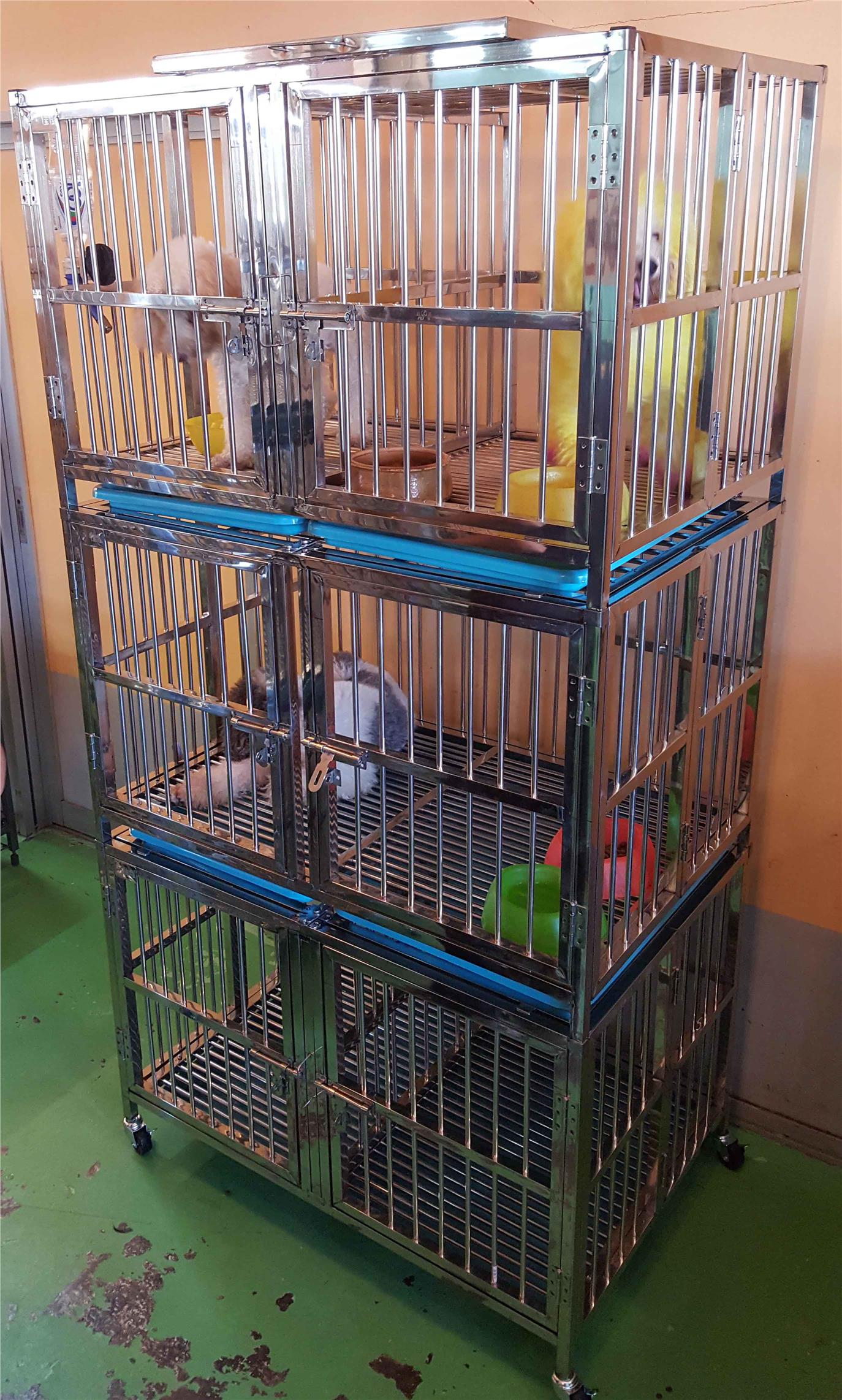 cage for pet dog 6 door stainless steel 110x75x200