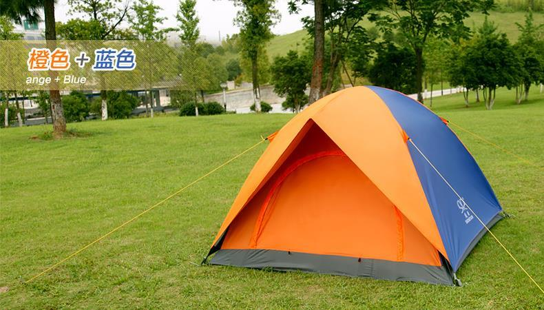 Camping Tent Outdoor Double Layer (Blue/Orange Tent)