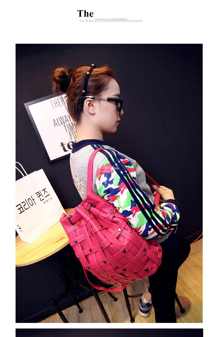 Candy Color Rivet Weave PU Backpack