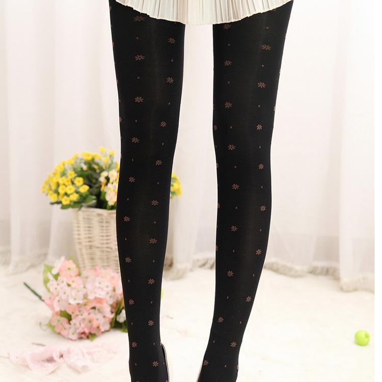 Candy Color Small Flower Pantyhose