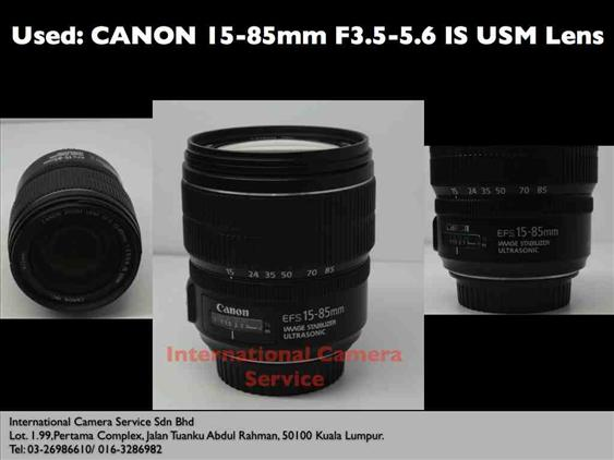 Used: CANON EFS 15-85mm IS USM Lens