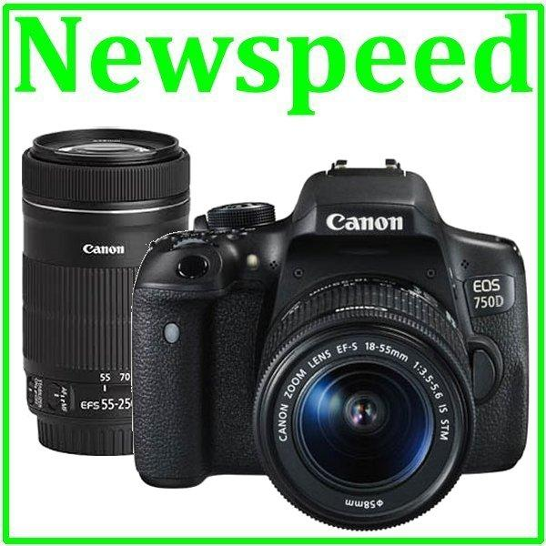 Canon EOS 750D 18-55mm STM + 55-250mm STM Twin Kit +8GB+Bag (Import)