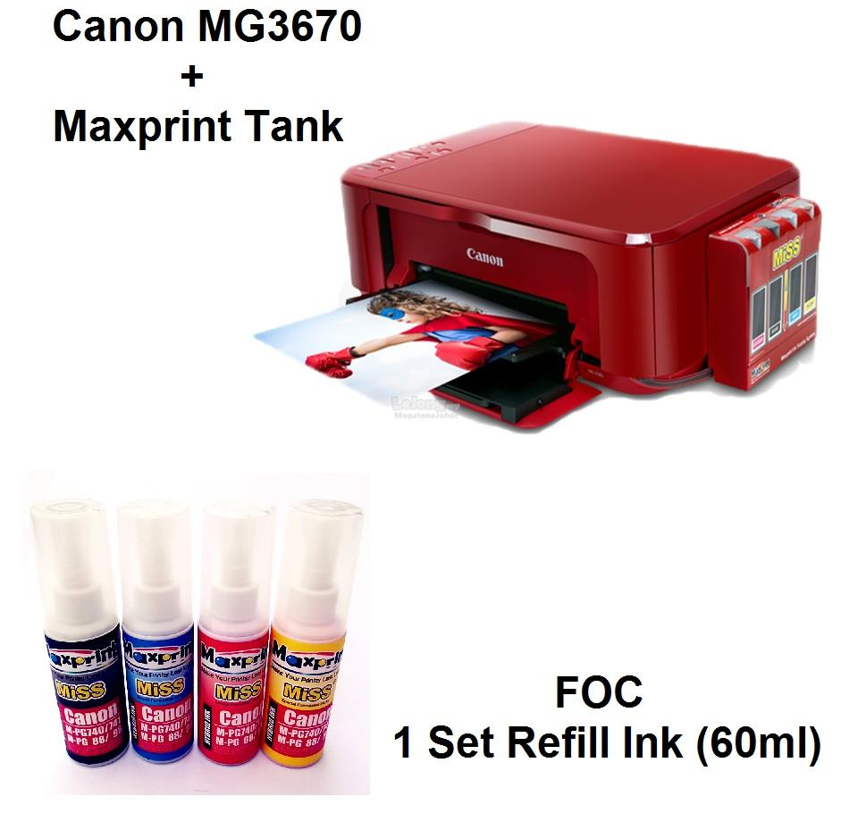 CANON MG3670 ALL IN ONE PRINTER WITH MISS & 1 SET REFILL INK 60ML
