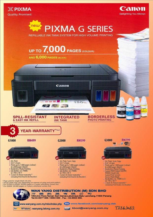 CANON NEW PIXMA G SERIES -G1000  Inkjet printer