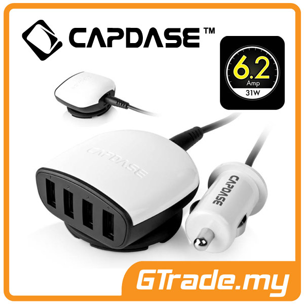 CAPDASE 4 USB Car Charger 6.2A Apple iPhone 6S 6 Plus SE 5S 5C 5 4S 4