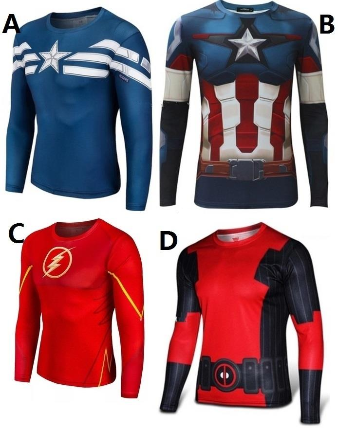 Captain America The Flash Deadpool long sleeve men shirt t-shirt