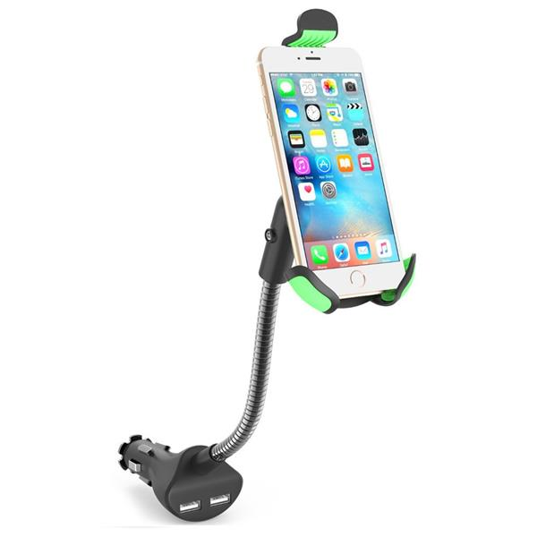 Car Mount Holder Stand 360 Degrees Rotation with Dual USB Charger