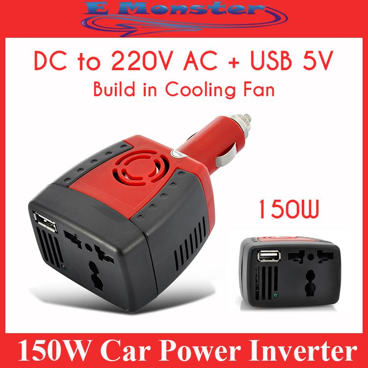 Car Power Inverter Cigarette plug 150W 12V DC to 220V AC + USB 5V 12V