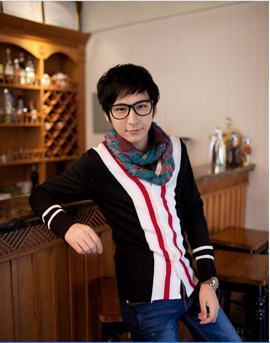 Cardigan Vogue Color Splicing Single-Breasted V-neck Cardigan Black