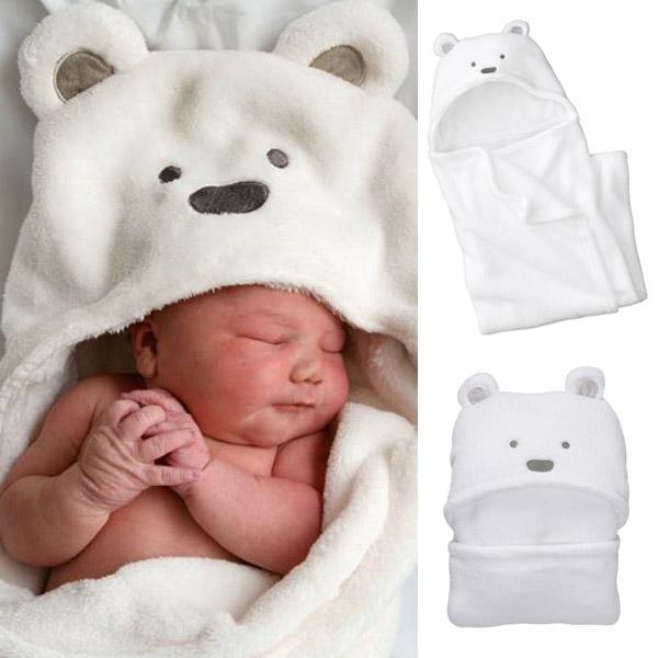 Cartoon Bear Coral Fleece Newborn Kids Baby Blanket Boy & Girl Toddler