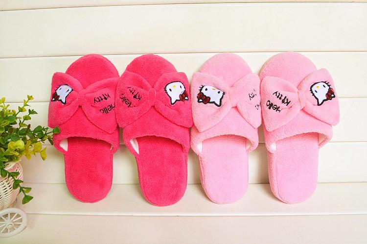 Cartoon Hello Kitty Cotton  Anti-Slip Rubber Indoor Slipper Shoe