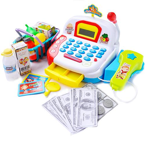 Cash Register Pretend Play Electronic With Calculator Function White