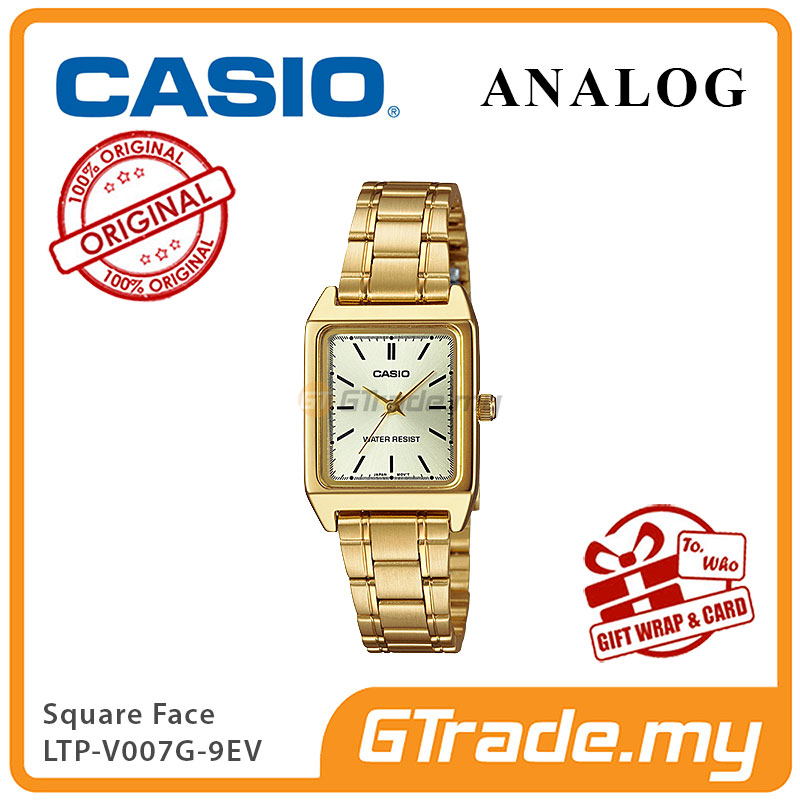 CASIO ANALOG LTP-V007G-9EV Ladies Watch | Square Face Gold Band