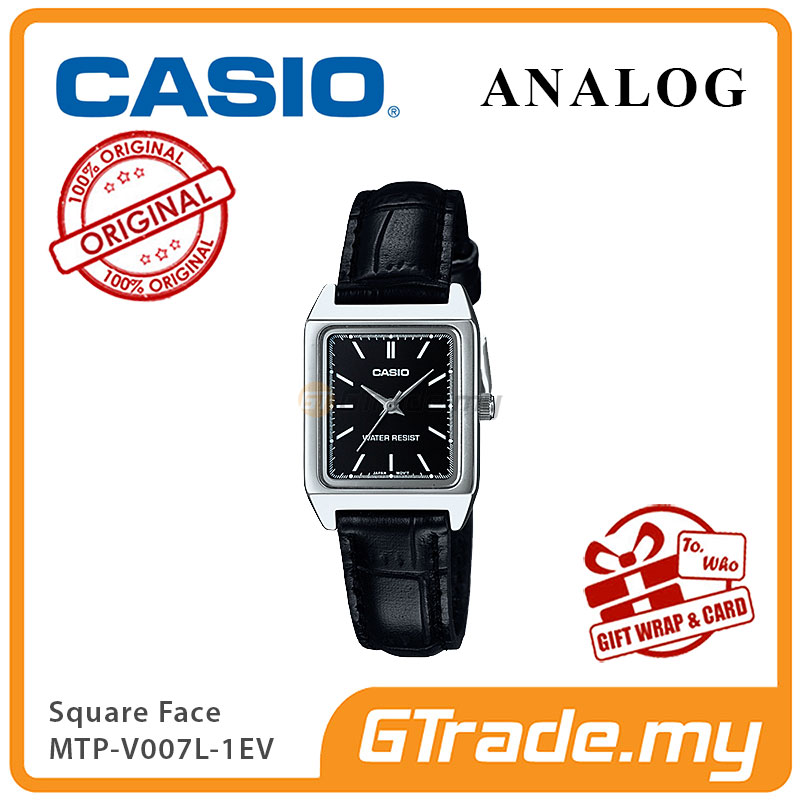 CASIO ANALOG LTP-V007L-1EV Ladies Watch | Square Face Leather Band