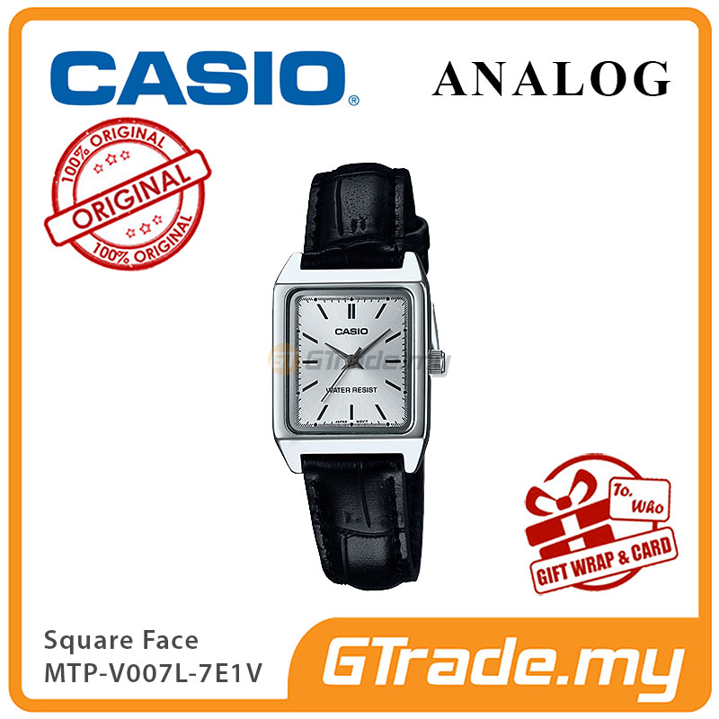 CASIO ANALOG LTP-V007L-7E1V Ladies Watch | Square Face Leather Band