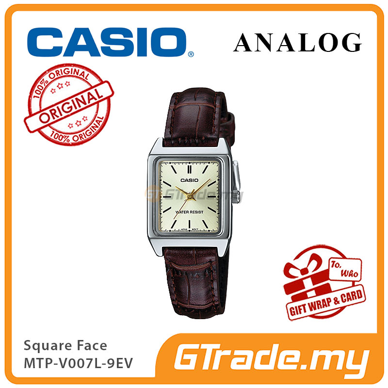 CASIO ANALOG LTP-V007L-9EV Ladies Watch | Square Face Leather Band