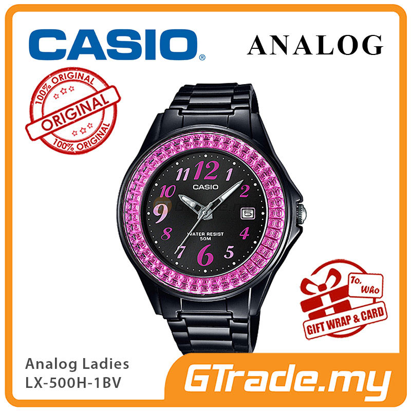 CASIO ANALOG LX-500H-1BV Ladies Watch | Shiny Ring Date Display