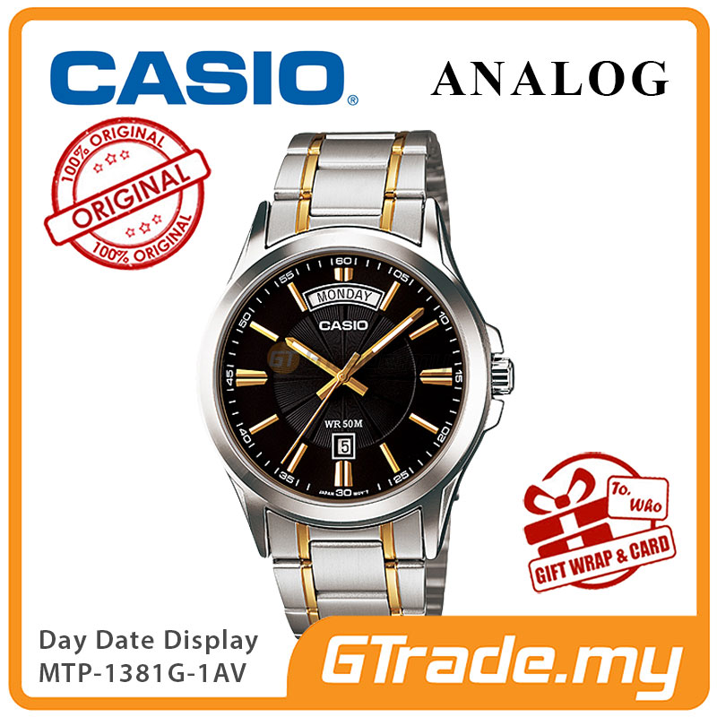 CASIO ANALOG MTP-1381G-1AV Men Watch | Day Date 50 Meter Water Resist