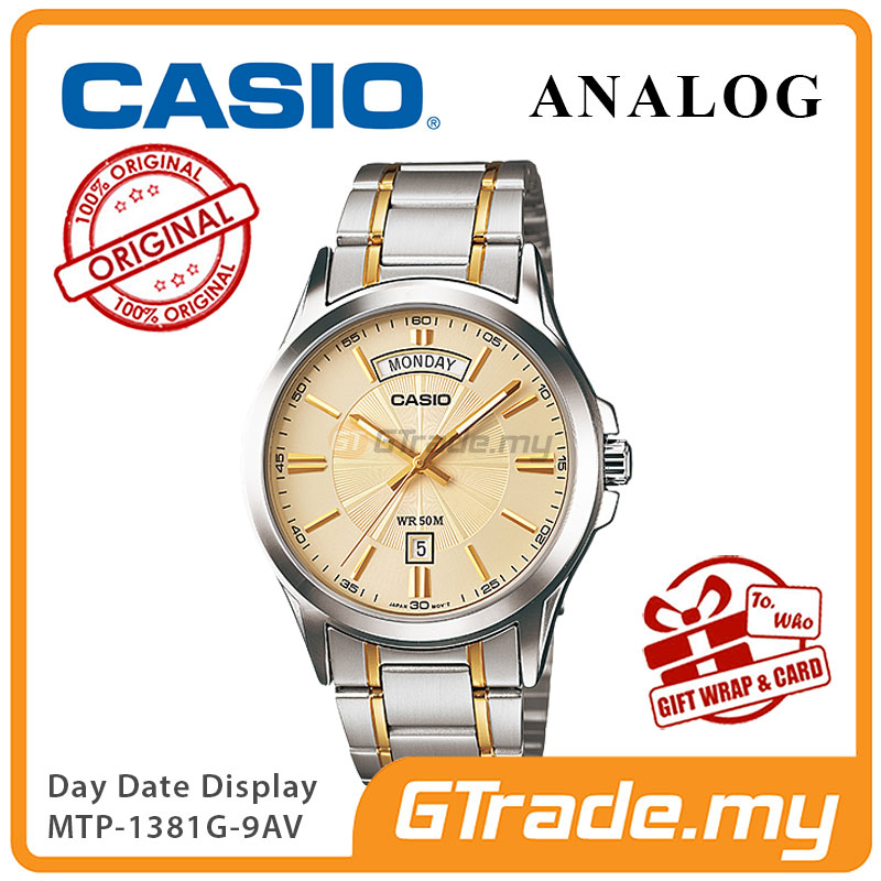 CASIO ANALOG MTP-1381G-9AV Men Watch | Day Date 50 Meter Water Resist