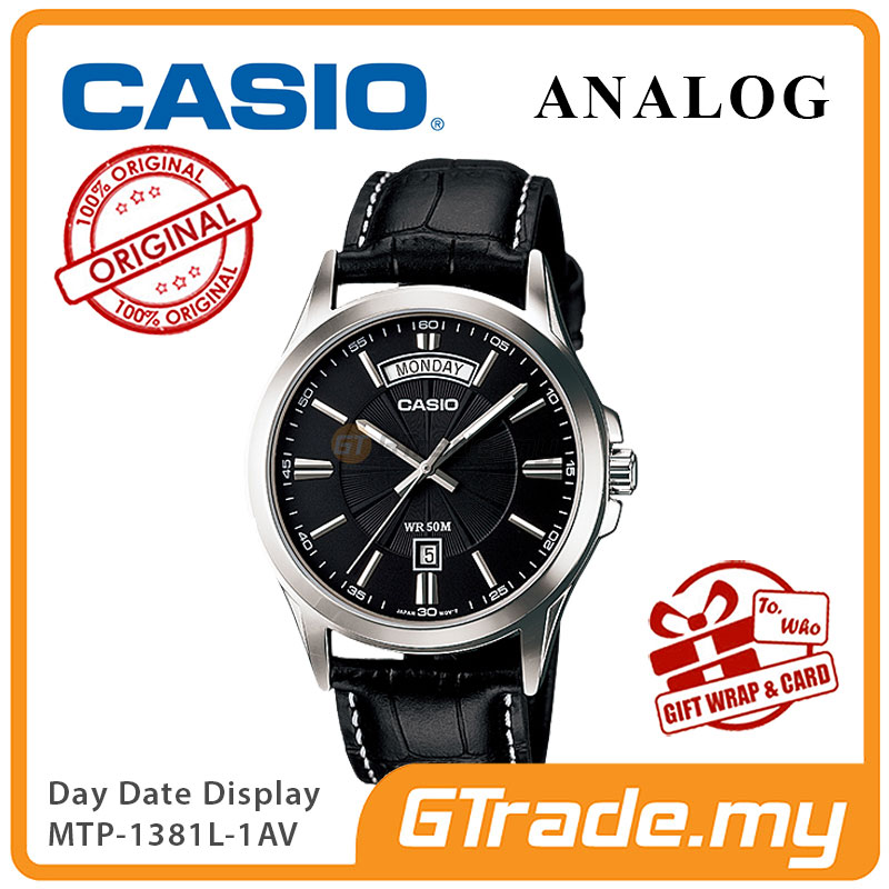 CASIO ANALOG MTP-1381L-1AV Men Watch | Day Date 50 Meter Water Resist