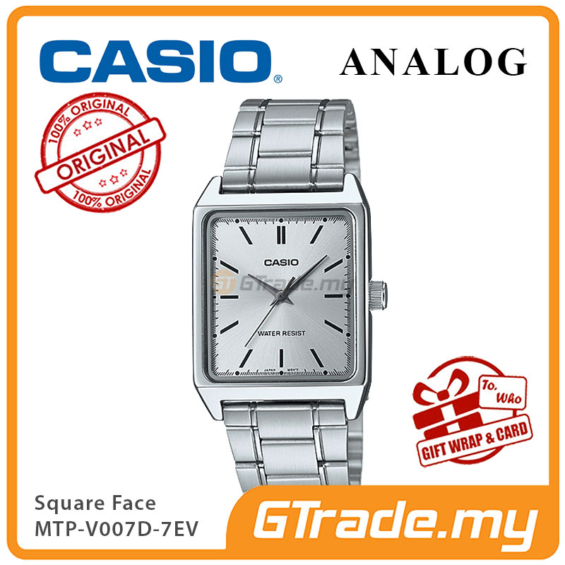 CASIO ANALOG MTP-V007D-7EV Men Watch | Square Face Steel Band