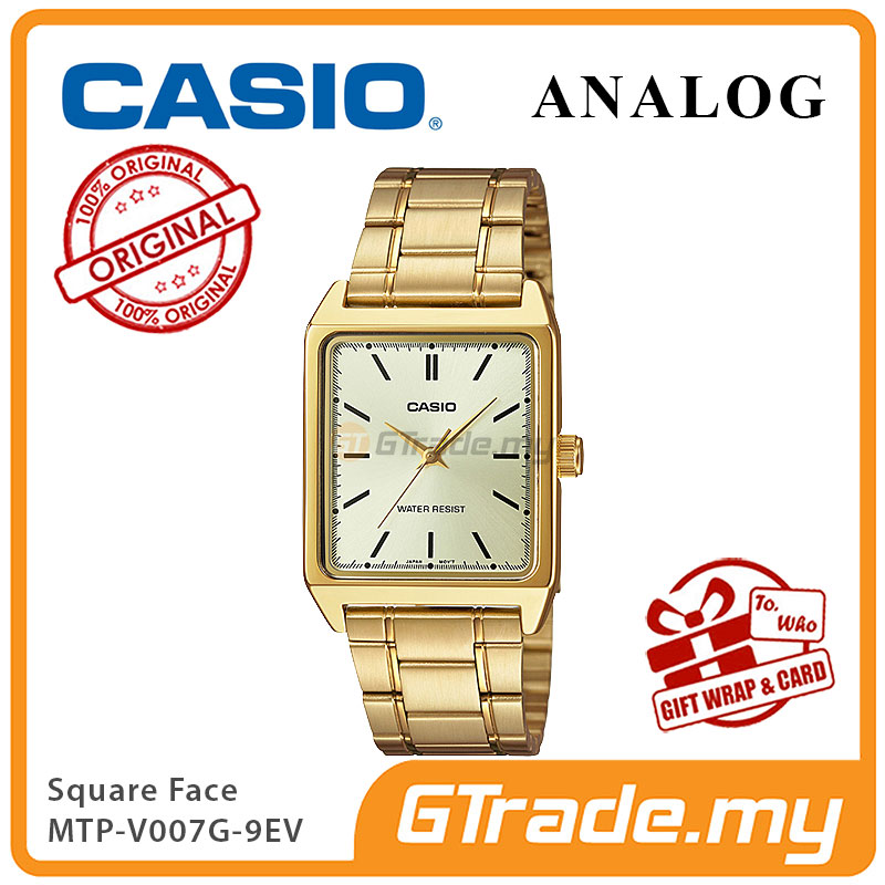 CASIO ANALOG MTP-V007G-9EV Men Watch | Square Face Gold Band
