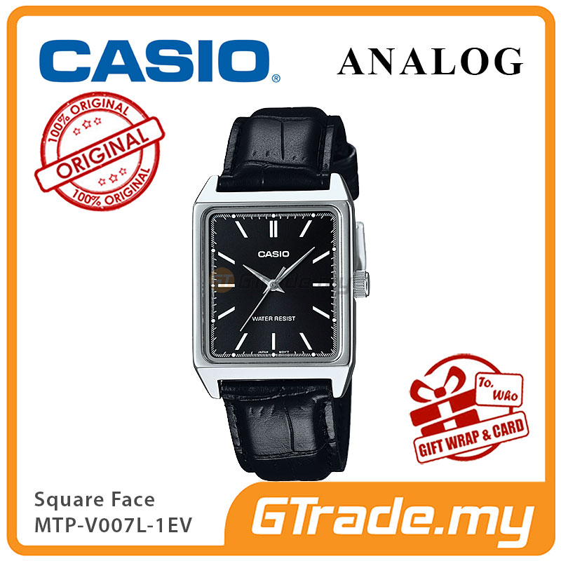 CASIO ANALOG MTP-V007L-1EV Men Watch | Square Face Leather Band