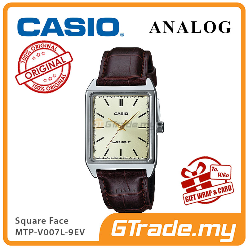 CASIO ANALOG MTP-V007L-9EV Men Watch | Square Face Leather Band