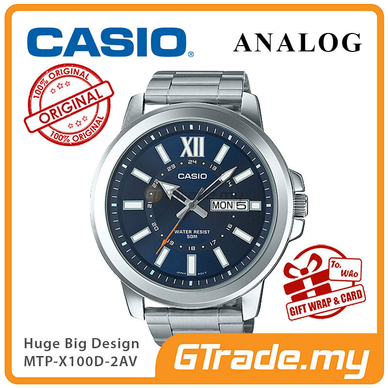 CASIO ANALOG MTP-X100D-2AV Mens Watch | Day Date Huge Sporty Design