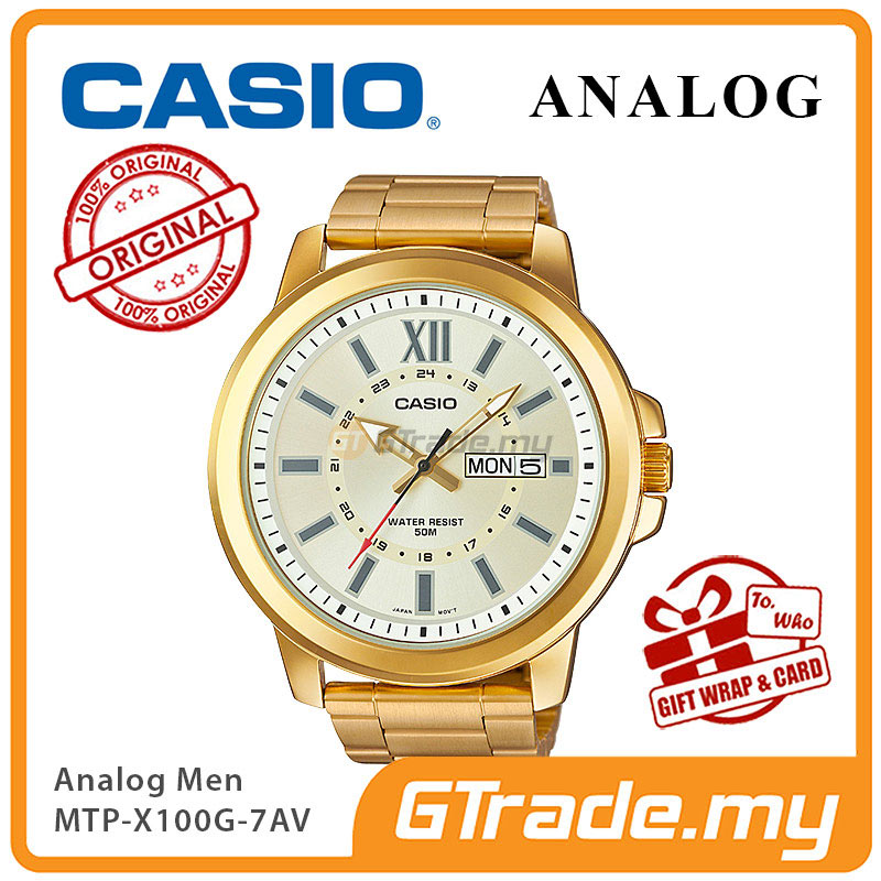 CASIO ANALOG MTP-X100G-7AV Mens Watch | Gold Ion Plate Large Case