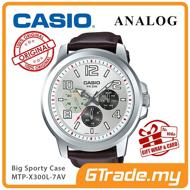 CASIO ANALOG MTP-X300L-7AV Mens Watch | Big Case Multi-Hands