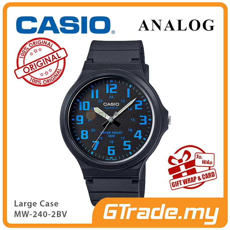 CASIO ANALOG MW-240-2BV Mens Watch | Large Case 50m Resist