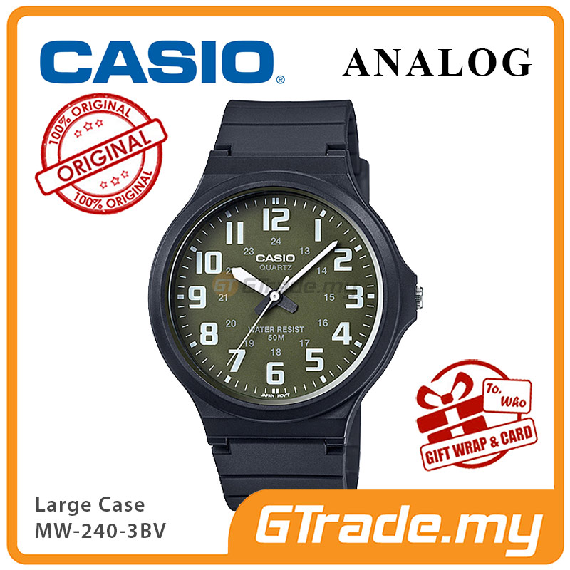 CASIO ANALOG MW-240-3BV Mens Watch | Large Case 50m Resist