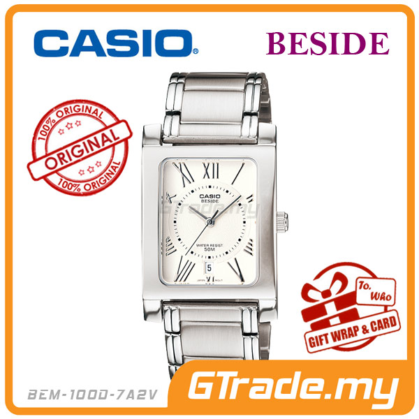 CASIO BESIDE BEM-100D-7A2V Classic Analog Mens Watch | Square