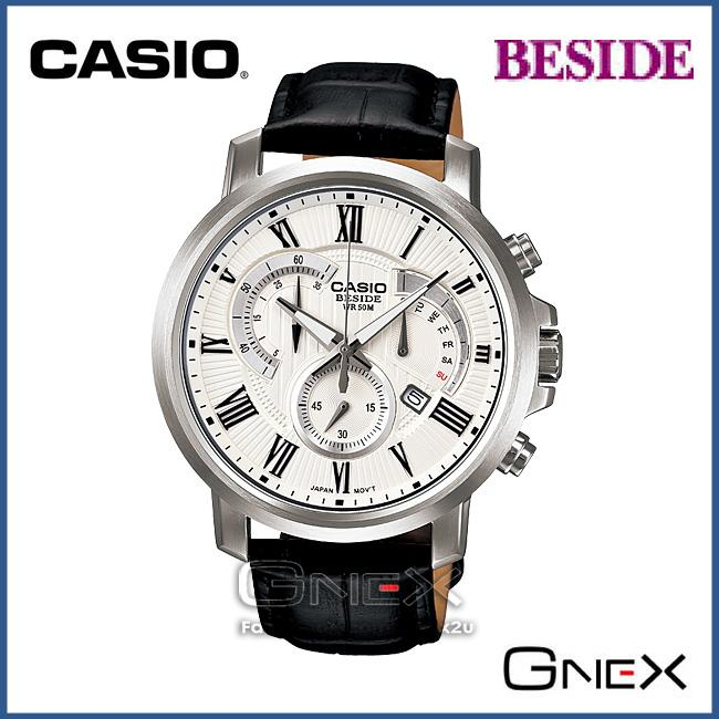 CASIO BEM-506BL-7AV BESIDE Chronograph Watch: Retro.Day|Date Dis|WR50m
