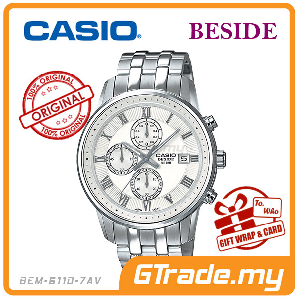 CASIO BESIDE BEM-511D-7AV Chronograph Watch | Sporty Date Disp.