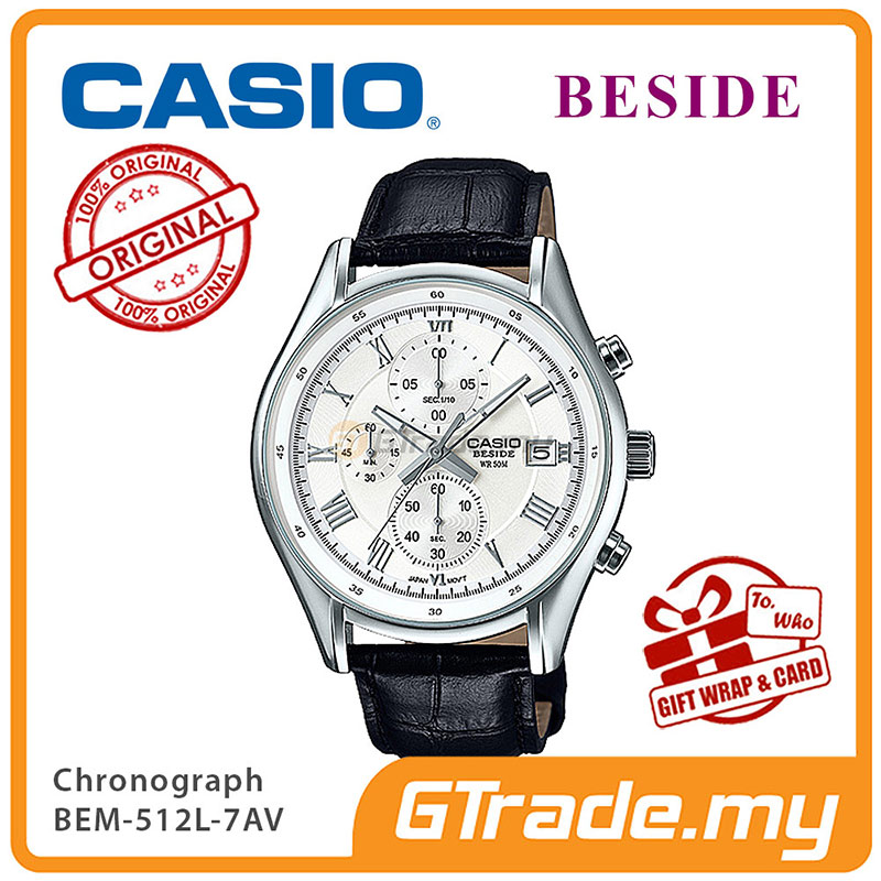 CASIO BESIDE BEM-512L-7AV Chronograph Watch | Genuine Leather Band