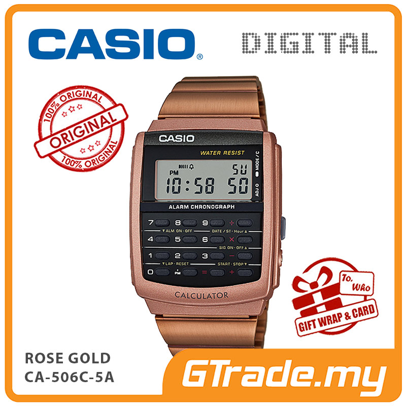 CASIO Calculator Watch CA-506C-5A Digital Rose Gold Strap Dual Time
