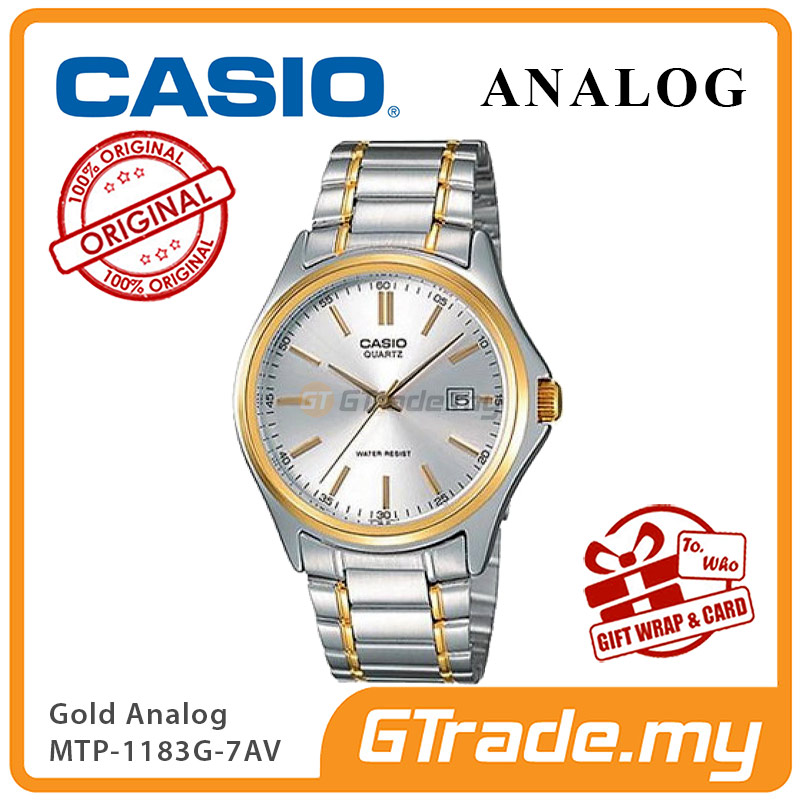 CASIO CLASSIC ANALOG MTP-1183G-7AV Men Watch | Date Display Gold Steel