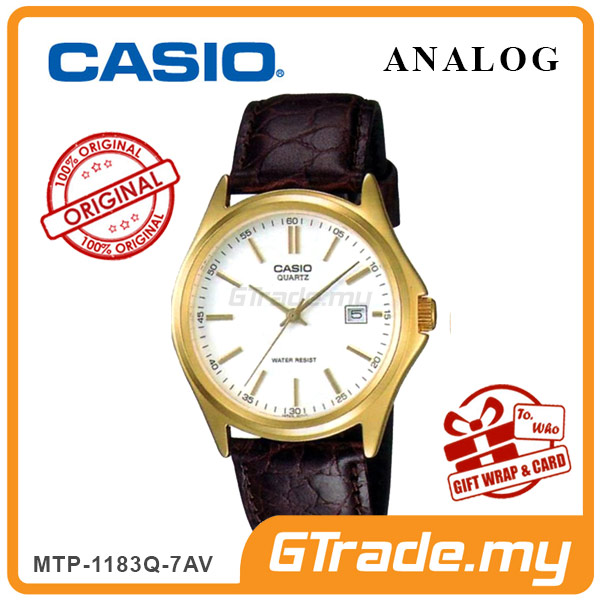 CASIO CLASSIC ANALOG MTP-1183Q-7AV Men Watch | Date Display Leather