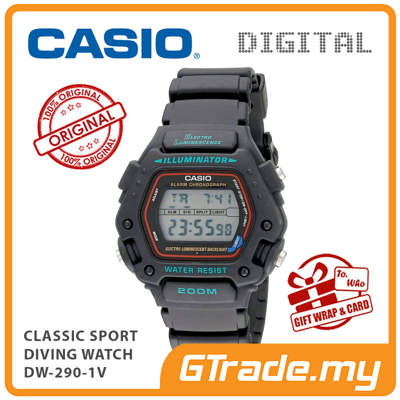 CASIO CLASSIC DW-290-1V Sport Digital Diving Watch | 200M Water Resist
