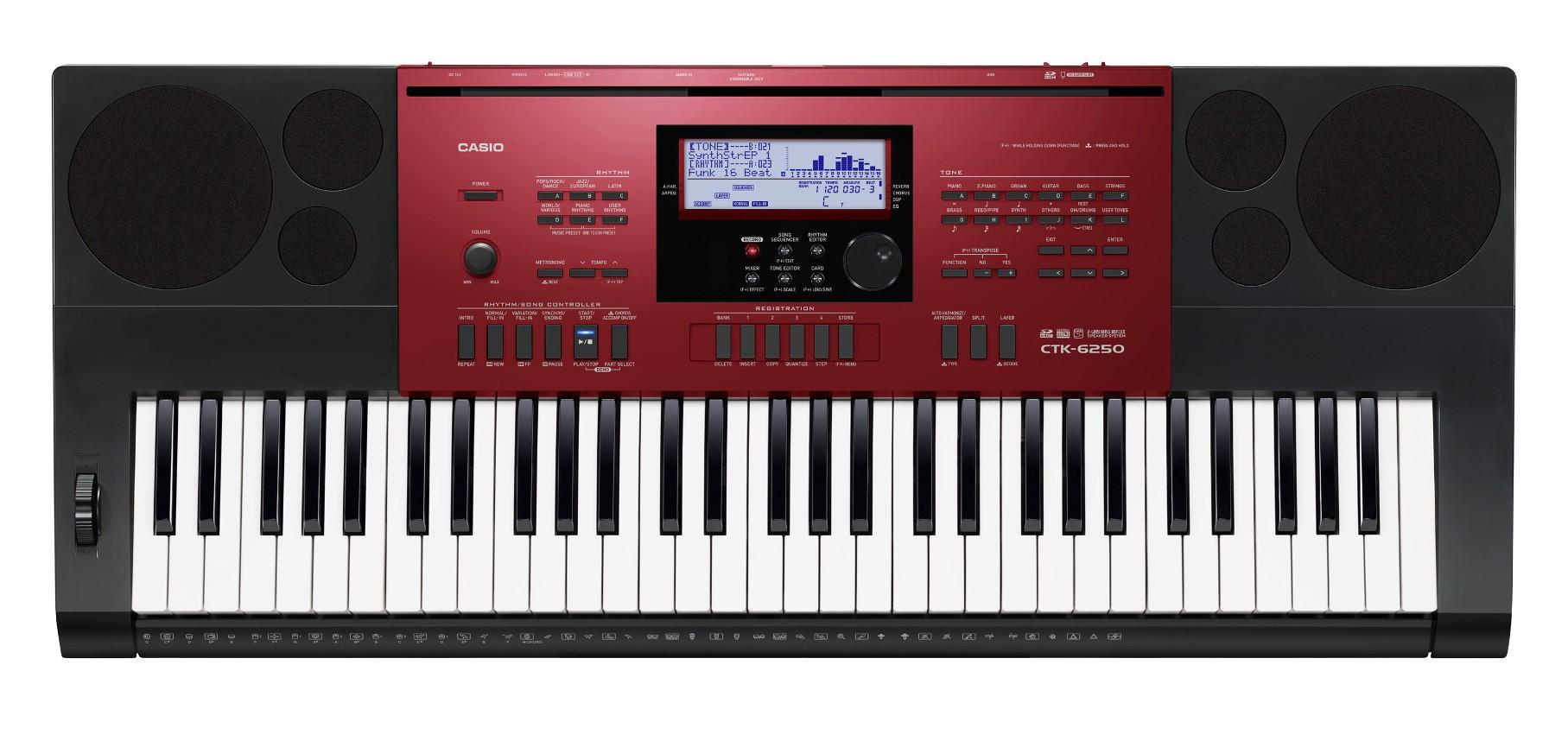 Casio CTK-6250 61-Keys Portable Keyboard - RED
