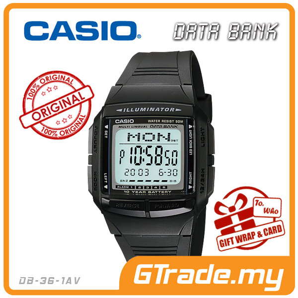 CASIO DATA BANK DB-36-1AV Digital Watch | 30 Telememo 10 Yrs Batt.