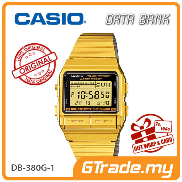 CASIO DATA BANK DB-380G-1 Digital Watch | 30 Telememo Dual Time