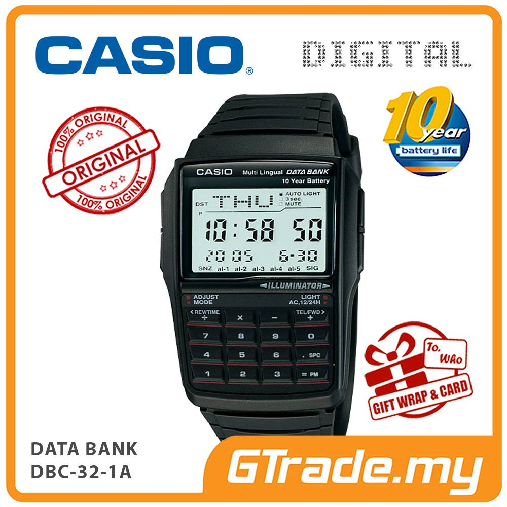 CASIO DATA BANK DBC-32-1A Digital Watch | Calculator 10 Years Batt.