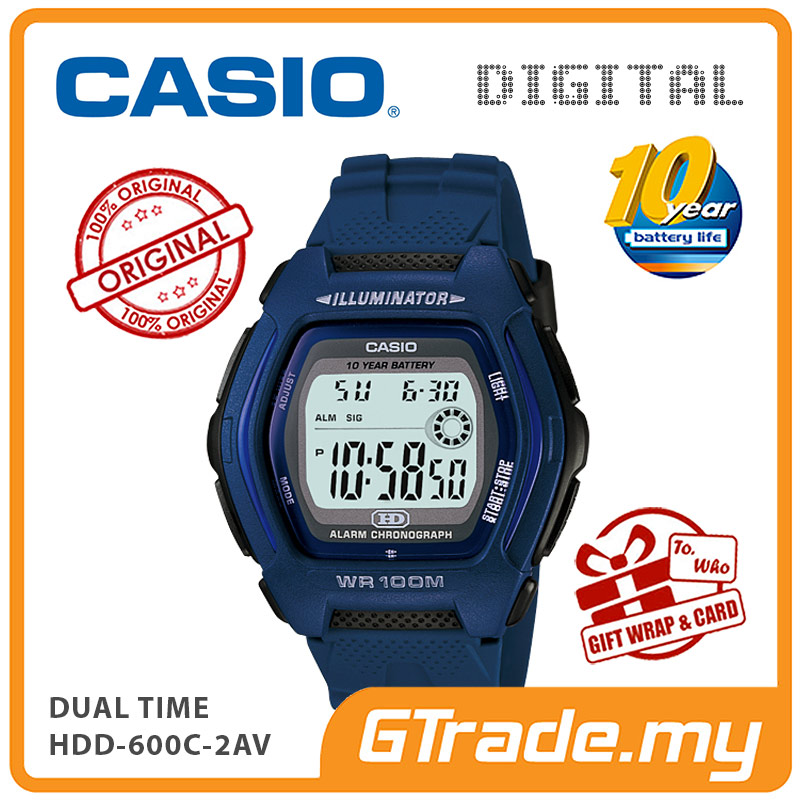 CASIO DIGITAL HDD-600C-2AV Watch | Dual Time 10 Years Battery Life