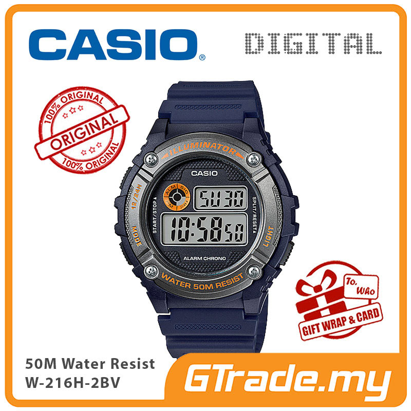 CASIO DIGITAL W-216H-2BV Watch | Alarm 50 Meter Water Resist