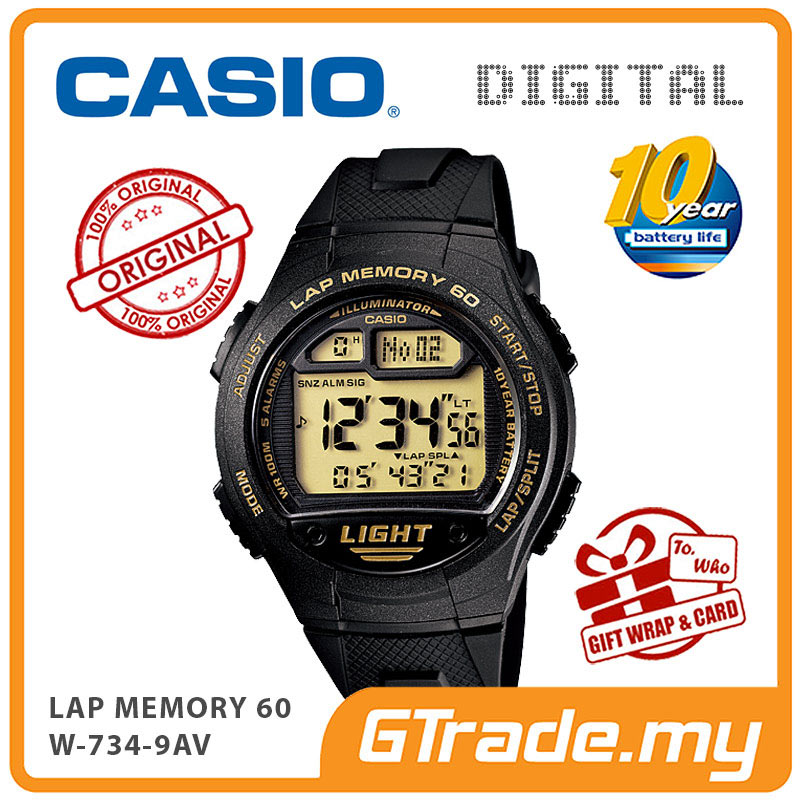 CASIO DIGITAL W-734-9AV Watch | Lap Memory 60 10 Years Battery Life
