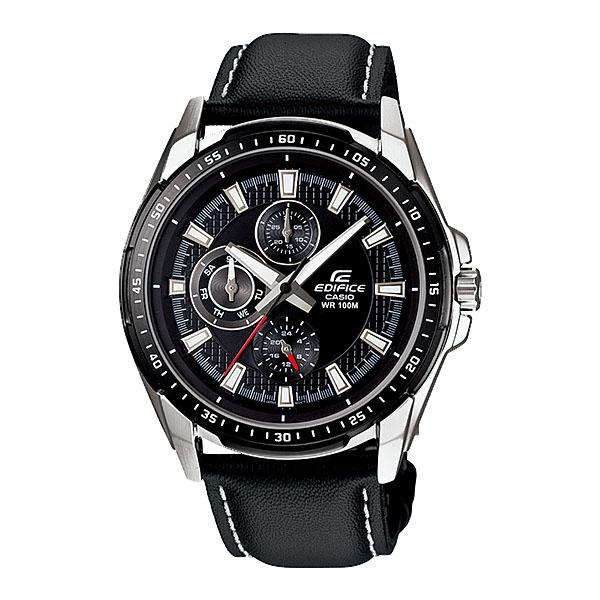 Casio Edifice EF-336L-1A1V Elegant Stainless Steel Leather Band Watch