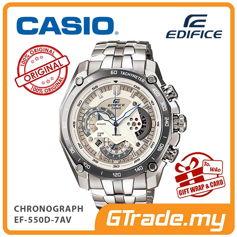 CASIO EDIFICE EF-550D-7AV Chronograph Watch | Retrograde Rotary Disc